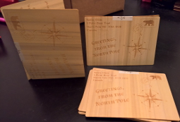 Wood veneer holiday cards